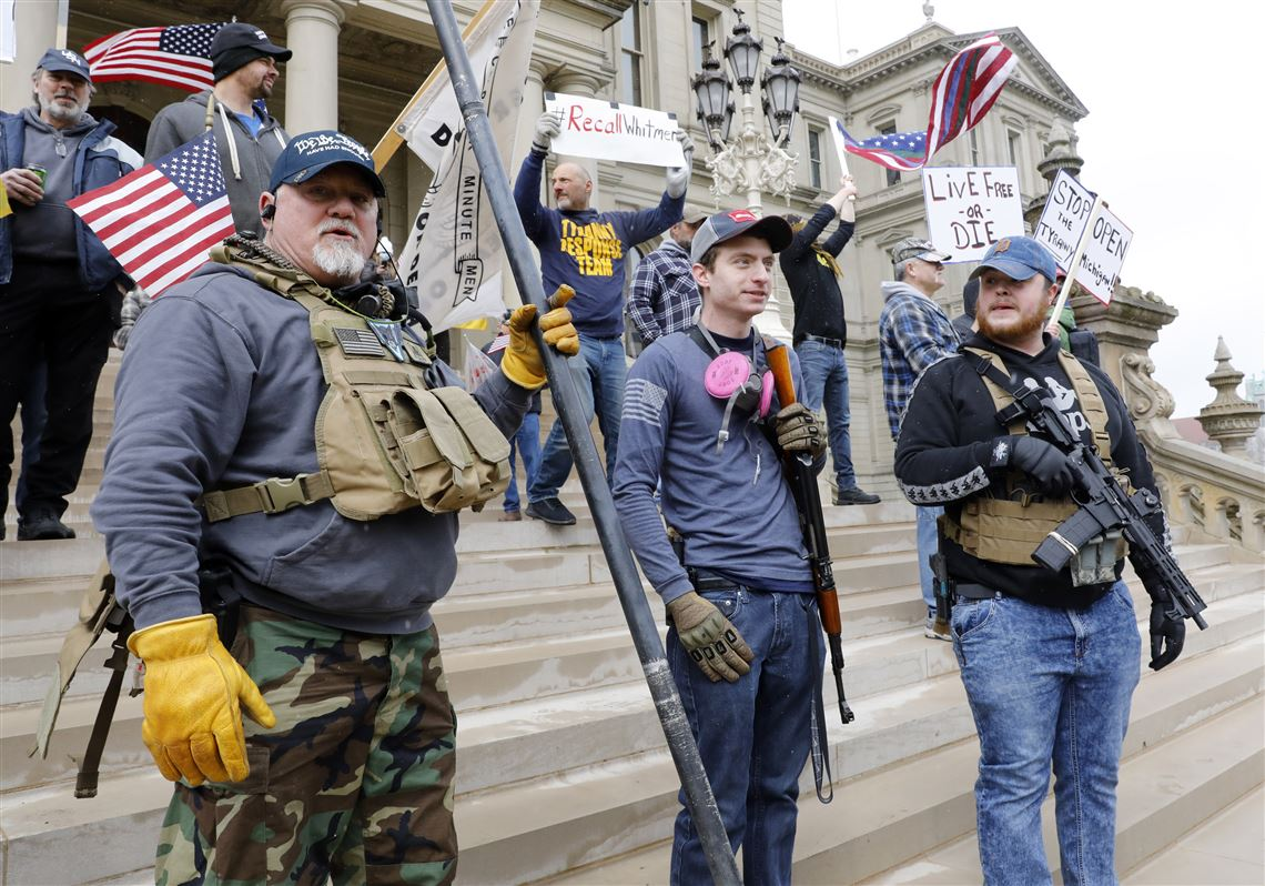 Armed Protestors in Pittsburgh demand Governor reopen state amid corona-virus pandemic.
